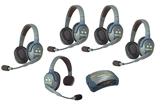 Eartec HUB514 - 5 Person System with 1 Single, 4 Double Wireless Communication Headsets and 1 HUB Mini Base Transceiver