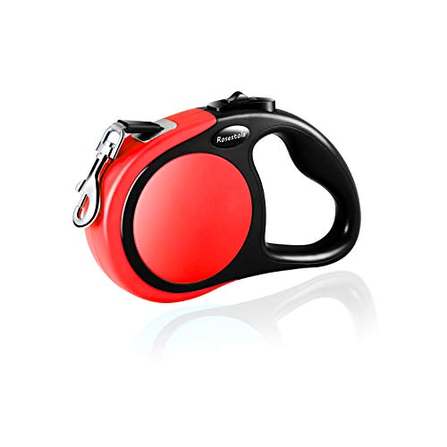 Heavy Duty Retractable Dog Leash 16ft Nylon Dog Leashes Suit for S mall Medium Large Dogs up to 44/110lb,One Button Break & Lock, Tangle Free (M, Rose red)