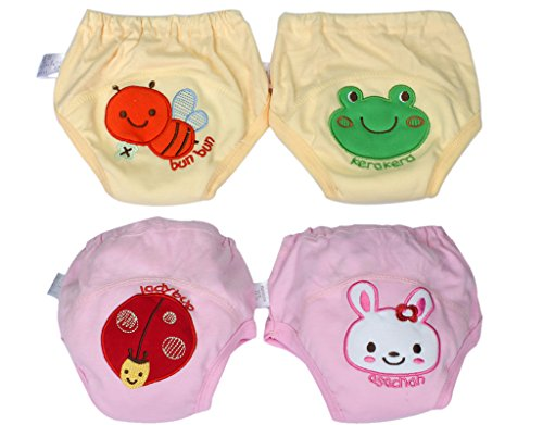 BONAMART Trainingshose Stoffwindeln Windeln Unterhosen Töpfchen Für Kinder Jungen, Unterwäsche Toilettensitz Kinder, 4 Einheiten Rosa Gelb, 100CM