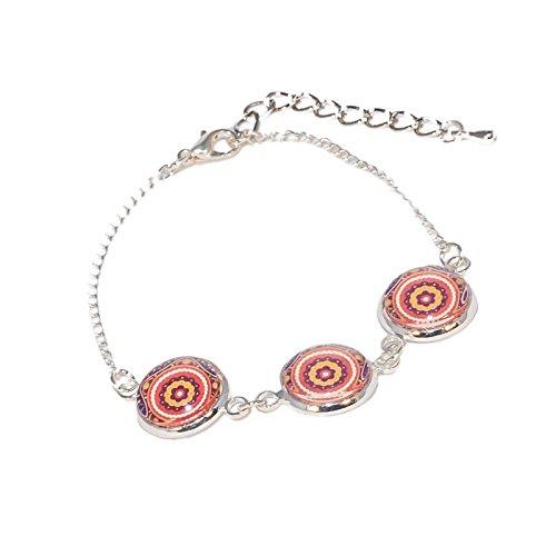 Creativa perlas–pulsera tres cabuchón redondo Mandala Oriental naranja y marrón–Naranja