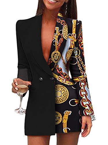 Minetom Damen Blazer Kleid Frauen Elegant Langarm V-Ausschnitt Hemdkleid Business Lange Knopf Anzug Spleißen Glitzer Minikleider B Schwarz 38