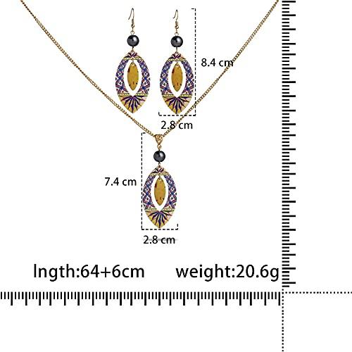XCWXM Coco Acrílico Frangipani Hibiscus Beach Monstera Jewelry Set Pendientes de Hojas de Damas y collares-ZH0295GOGR_70 cm