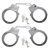 Mosqueda Handcuffs for Kids Toy Metal Handcuffs with Keys Police Cosplay Costume Accessories Metal Chain Silver