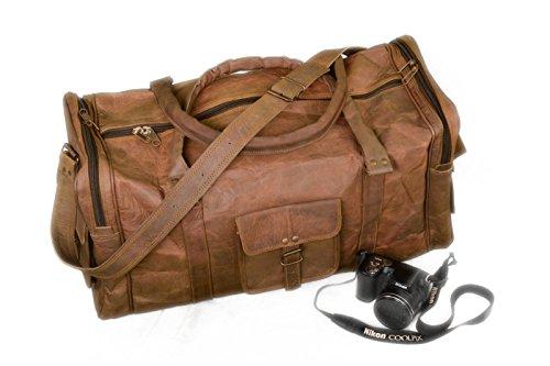 Bazar in pelle, stile Vintage, in pelle di capra, Borsa da viaggio Borsone, marrone (Marrone) - 261880717545