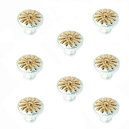 ZHU YU CHUN 8Pcs Euro Style Kitchen Cabinet Pulls,Vintage Drawer and Dresser Round Handles,Knobs Pulls,Gold Victorian Floral Pattern Cabinet Knobs for Cupboard,Drawer,Bathroom Cabinets (White).