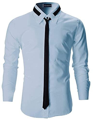 Zombom Men's Regular Fit Casual Shirts (38, Sky Blue)