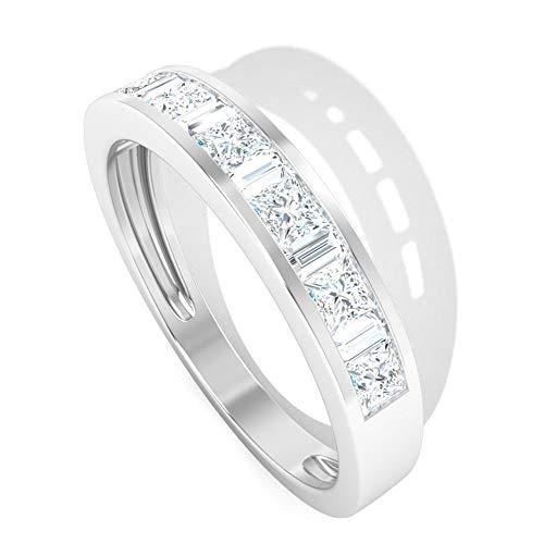 Anillo de boda de diamante certificado IGI de 0,80 CT, anillo de boda, aniversario de novia, apilable promesa, regalo para el día de la madre, 18K Oro blanco, Size:EU 68