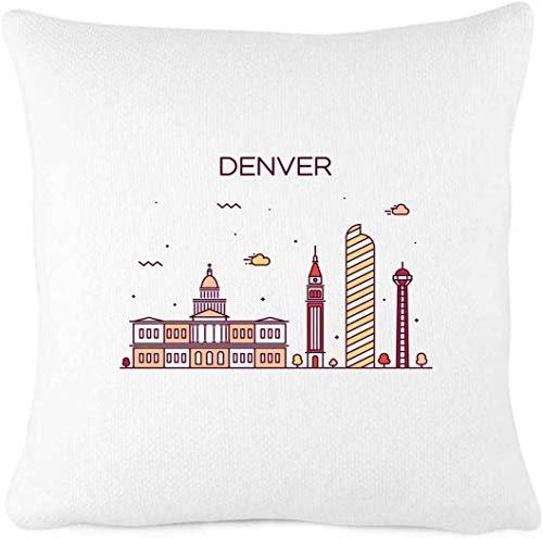 Denver Colorado City Scape - Funda de almohada para decoración de casa de campo, decoración vintage para el hogar