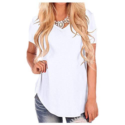 Manga corta blanca camiseta de algodón básica camiseta de verano de las mujeres de la camiseta casual sólido suelto top V cuello señoras - blanco - X-Large