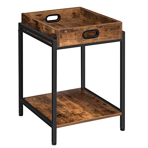 HOOBRO Side Table, Sofa Side Table with Removable Tray and Open Shelf, Snack Tray Table, for Living Room, Bedroom, Simple Structure, Industrial Style, Easy Assembly, Rustic Brown EBF45BZ01