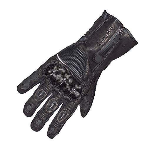 Motorcycle Leather Gloves,Winter Full Finger Waterproof Touchscreen Hi Vis Reflective Motorbike Gloves for Men(XL, Black)