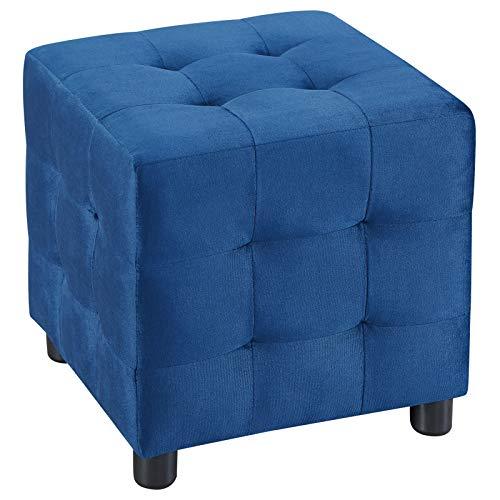 IDIMEX Würfelhocker Bazar aus Samt, Sitzhocker Sitzwürfel Polsterhocker Stoff Samtstoffbezug, in dunkelblau