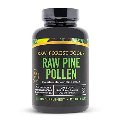 RAW Pine Pollen Capsules — Single Origin, Cracked Cell Wall, Mountain Harvest — Adaptogenic, Functional, Paleo, Vegan — Perfect for Blood Pressure Promote Weight Loss — RAW Forest Foods — 120 Capsules