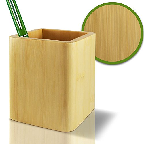 Pencil Cup Holder 100% Eco-Friendly Bamboo - Box for Desk Cute Case Organizer Jar Container for Desktop Display Luxury Premium
