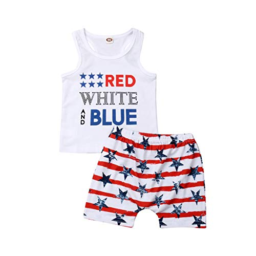 Bagilaanoe Toddler Baby Boy 4th of July Clothes Sleeveless Tank Top Shorts Pants Set 3-4T