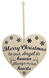Meijiafei Merry Christmas Angel Heaven Wooden Hanging Heart Memorial Plaque Xmas Tree Decoration
