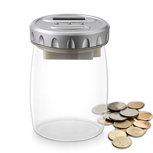 Younion Digital Coin Bank, Piggy Bank, Automatic Coin Counter Totals All U.S. Coins, Clear Piggy Bank for Kids Adults Boys Girls as Gift, Silver