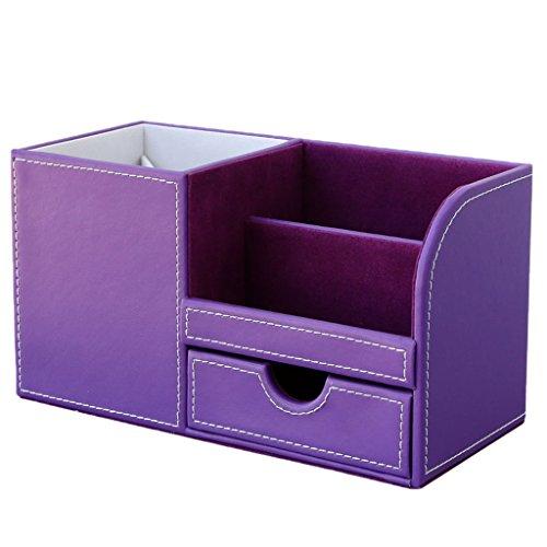 FLAMEER Multifunktion Organizer Schreibtisch Leer Aufbewahrungsboxen Tisch Ordnungssystem - Lila, 22.5x10x12cm