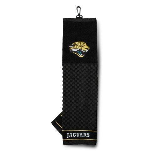 Team Golf NFL Jacksonville Jaguars Embroidered Golf Towel, Checkered Scrubber Design, Embroidered Logo