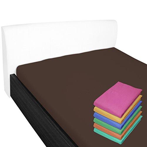 Nurtextil24 Bettlaken 100% Baumwolle 28 Farben und 4 Größen ohne Gummizug Braun 150 x 240 cm