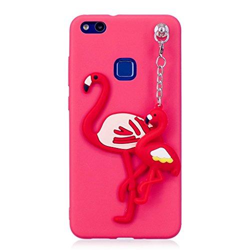 Funda Huawei P10 Lite Rojo, Huawei P10 Lite Carcasa Silicona Gel MUTOUREN Case Ultra Delgado TPU Goma Flexible Funda Huawei P10 Lite - Colgante flamencos
