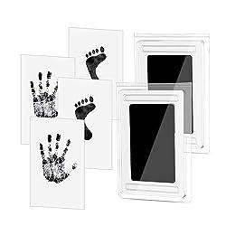 Baby Fußabdruck und Handabdruck Set, Baby Fussabdruck Set - 2 pcs, Hospaop Baby Handprint, Stempelkissen Ungiftig Inkless, Babyhaut kommt nicht mit Farbe in Berührung und für Neugeborene 0-6 Monate