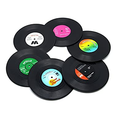 DuoMuo Coaster Set of 6 Colorful Vinyl Record Disk Coasters With Funny Labels-Tabletop Protection Prevents Furniture Damage