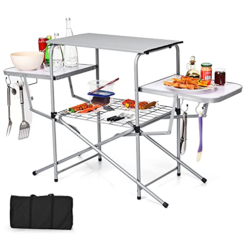 Giantex Folding Grill Table with 26'' Main Tabletop, Portable Aluminum Camping Table, Carrying Bag, Quick Set-up, Outdoor Camping Kitchen Food Prep Station for Picnic Tailgating RVing Backyard