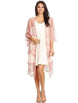 Anna-Kaci Womens Long Embroidered Lace Kimono Cardigan with Half Sleeves Mauve OneSize