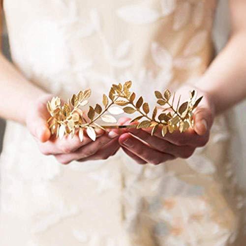 Matedepreso Mujer Aro Boda Laurel Corona Pieza Retro Tiara Novia Accessorios Ligero Elegante Niña Ceremonia Metal Hojas Forma Diadema (Dorado) - Oro, Free Size
