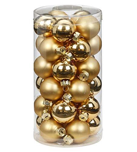 We Love Christmas Scatola 30 Palline di Natale in Vetro 4cm Gold Lucido e Opaco Mix