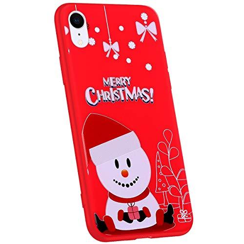 Jinghuash Compatibel met iPhone XR beschermhoes rood siliconen Hoed sneeuwpop