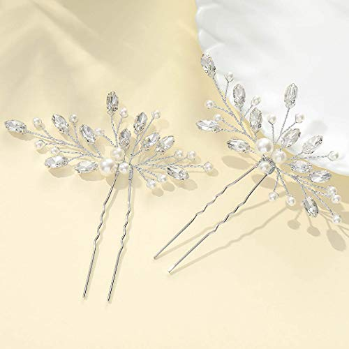 Vakkery Hochzeit Haarnadeln Silber Strass Haarspangen Perle Braut Haarschmuck für Frauen und Mädchen (2 Stück)