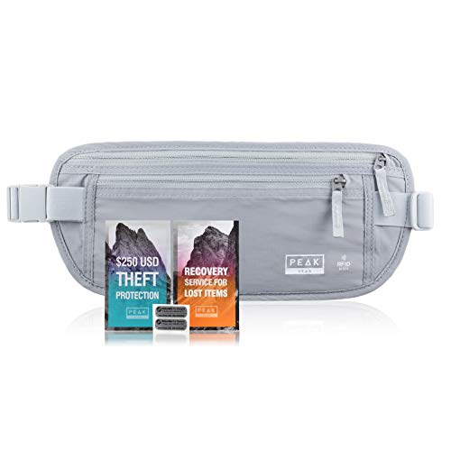 RFID Travel Money Belt - w/Theft Protection and Recovery Tags (Gray REG)