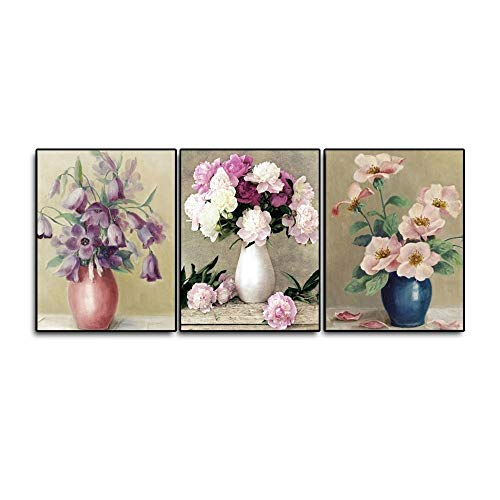 N / A 3 Pieces of Art Vase White Flower Retro Poster for Home Bedroom Living Room Decoration Bedroom Decoration Frameless 80cmx90cm