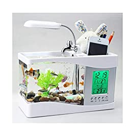 Aquariums Fish Tank Multifunctional Mini Electronic USB Desktop Aquariu Fish Tank With Tap Water Pump LED Light Calendar Clock