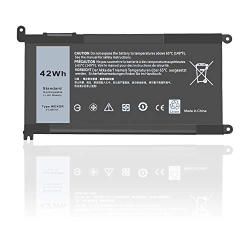 DTK Laptop battery for Dell WDX0R Inspiron 13 14 15 17 5000 7000 5468D 5568D INS14 INS15 Series Notebook WDXOR FC92N CYMGM 0C4HCW 3CRH3 T2JX4 P69G001 [42Wh 11.4V]