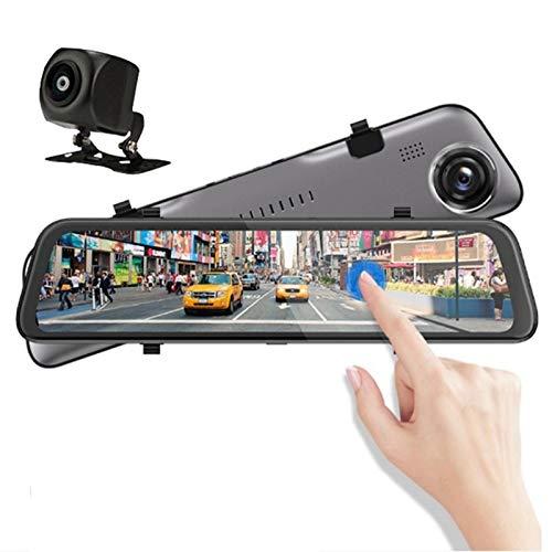 Cámara de Coche, 12' Dash CAM Full HD 1080P Gran Angular de 170°, WDR G-Sensor, Grabación en Bucle, Visión Nocturna, Monitor de Aparcamiento Delantero+Trasero Grabadora de Conducción