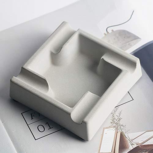 LittleNUM Cenicero Moda nórdico Estilo Industrial cenicero Sala de Estar decoración Cemento cenicero,Gris