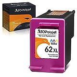 ATOPolyjet - Cartuchos de tinta remanufacturados para HP 62 XL 62XL compatibles con HP Envy 5540 5541 5542 5543 5544 5545 5546 5547 officejet 200 200c 250c 258 5741 5742 Impresora 5743 (1 tricolor)
