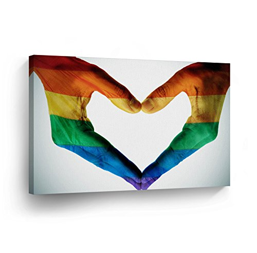 Gay Love Canvas Print Gay Rights LGBT Flag Rainbow Colors Lesbian Gay Wall Art Love Decorative Decor Artwork Wrapped Stretcher Bars Ready to Hang%100 Handmade in The USA - 8x12