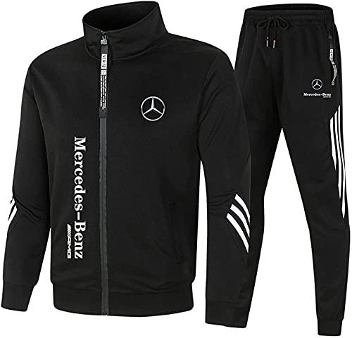 AGLOAT Trainingsanzug Set Herren, Jungen Sportanzug Jogginganzug Hoody Sweatshirt und Sweatpants, Zweiteilige Trainingsjacke Mantel Sportbekleidung Sporthose,Schwarz-XL