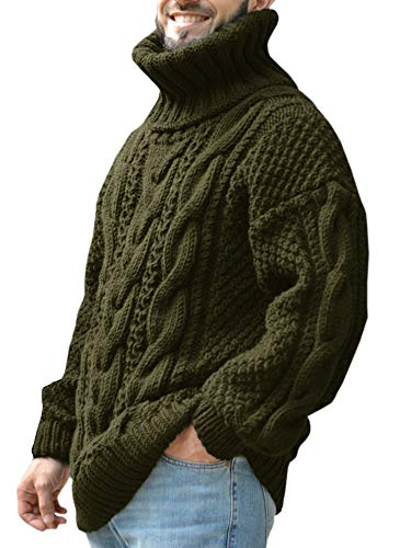 Gafeng Mens Chunky Turtleneck Pullover Sweater Cable Ribbed Knit Slim Fit Winter Thermal Workout Sweater Army Green