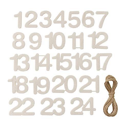 organzabeutel24 | Selbstklebende Adventskalender-Zahlen 1-24 aus Filz, Farbe Creme mit 4 Meter Langer Schnur, Kalenderzahlen, Weihnachtskalender zum Selbstbefüllen