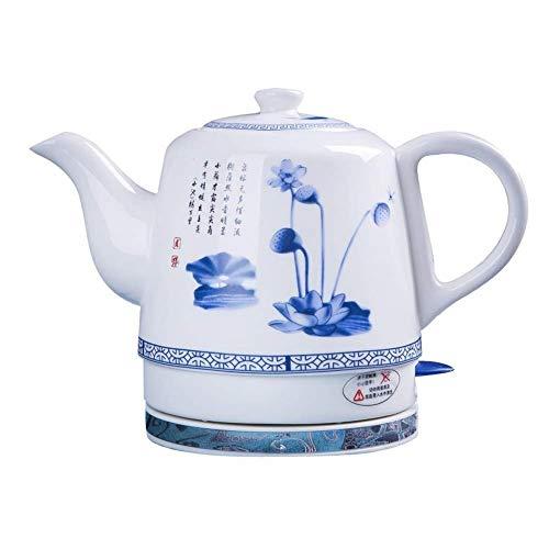 Wyxy Tetera eléctrica de cerámica sin Cable, Tetera Retro roja de 1,2 L, Agua de 1000 W rápido para té, hervir la protección en seco rápido