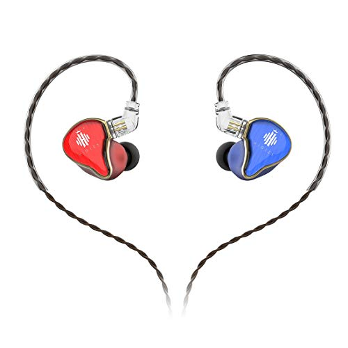 HIDIZS MS4 Hi-Fi Earphones (1DA + 3BA), Hi-Res Earbuds with Detachable Cable Design Four Knowles Driver Hybrid in-Ear Monitor Headphones (Blue&Red)