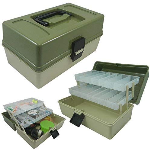 Lunar Box, 3 Layer Cantilever Fishing Tackle Box, with Adjustable Divider Compartments
