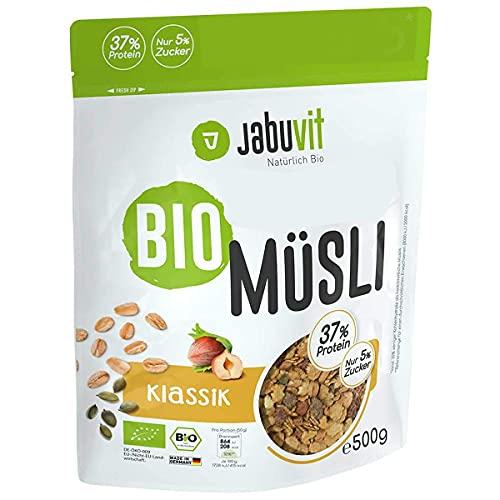 JabuVit Muesli bio à faible teneur en glucides et seulement environ 5 % de sucre, riche en fibres, protéines et extrêmement délicieux de qualité biologique, fabriqué en Allemagne – 500 g (classique).