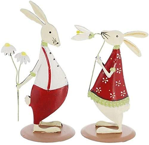 Estatuilla de Metal Navidad Pascua Forma de Conejo Estatua Animal Escultura de jardín Cercas al Aire Libre Patio de césped Decoración Figuras de San Valentín Adorno romántico Estatuas Evolutions
