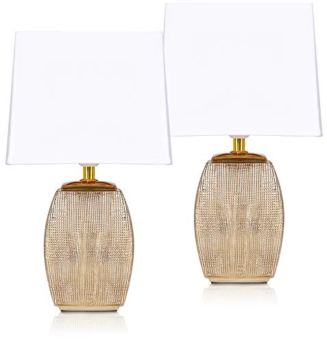 2er Set BRUBAKER Tisch- oder Nachttischlampen - 38 cm - Gold - Keramik Lampensockel - Schirme Weiß